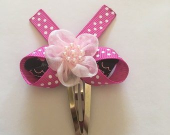 Handmade ribbon flower snap clip