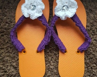 Handmade Crocheted Cotton Flip Flops/ Sandals