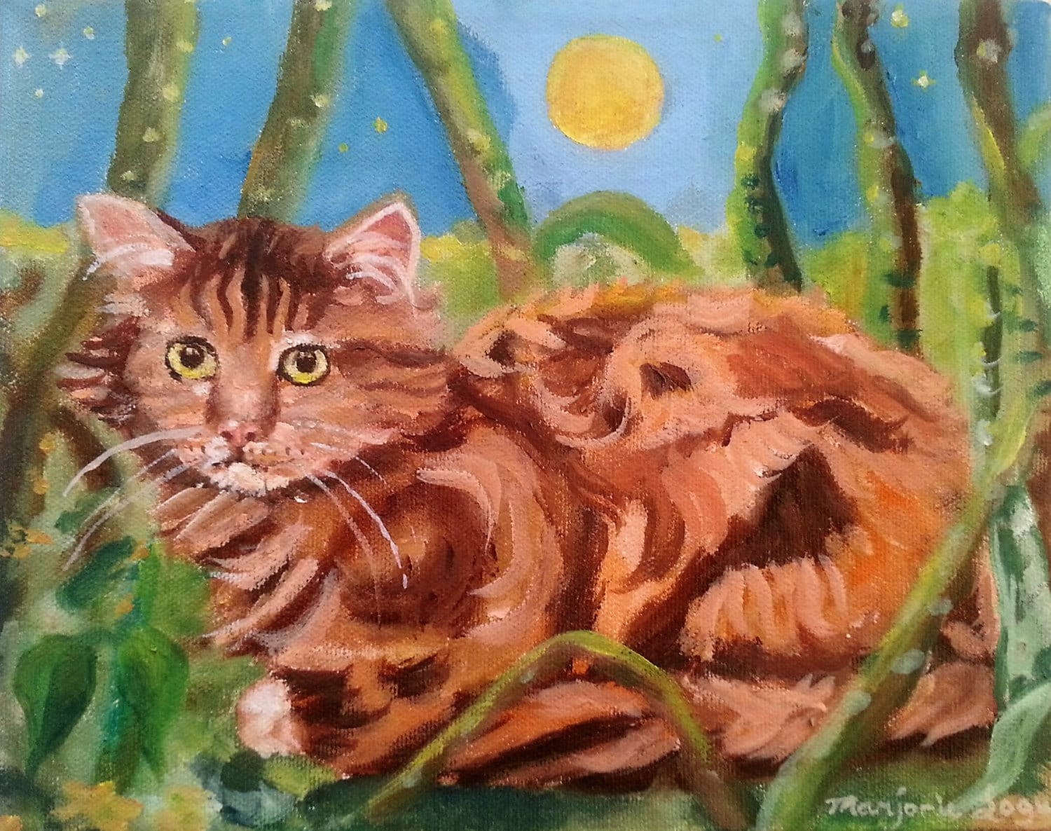 Waiting original oil cat painting on stretch canvas 10 x 8 for Cat paintings on canvas