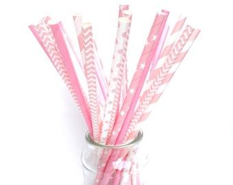 PINK MIX Paper Straws (set of 25) - Standard Size Straw Light Pink Mix (19.5cm x 0.6cm)