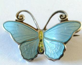 Vintage Jewellery, Vintage Brooch, Silver Brooch, Hestenes Norway Silver and Enamel Butterfly Brooch, Enamel Brooch Pin, Butterfly Brooch