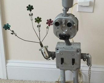 Metal Junk Lamp Man
