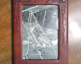 Vintage 1920s Cordova Shop Bufallo, NY Leather 5x8 Picture Frame