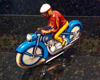 Vintage Tin Friction Motorcycle Racer Toy- 1950's - Technofix of Western Germany