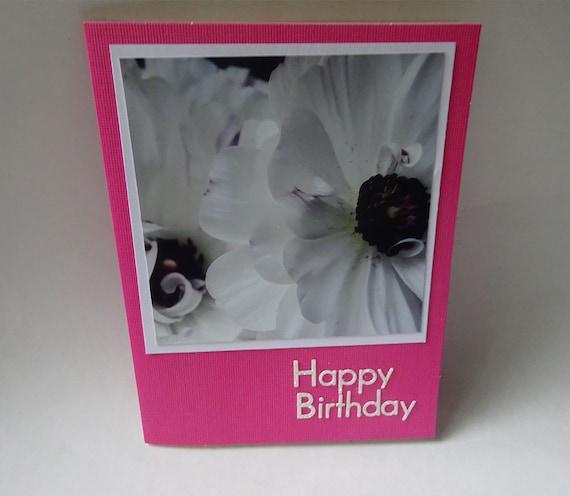 Handmade Birthday Card with White Ranunculus Flowers - #1298