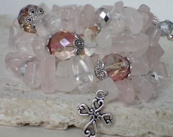 Rose Quartz Gemstone Memory Wire Charm Bracelet with Charm