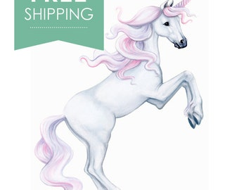 unicorn decals, Unicorn Decal, Unicorn wall decal, Unicorn wall stickers, Unicorn mural, fairytale decal,  hand painted decals,