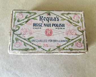 Vintage Box of Requa's Rose Nail Polish. Vintage Cosmetic.