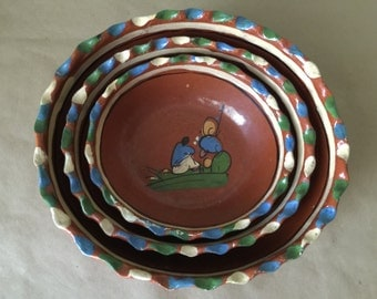 1950s Vintage Trio of Mexican Nesting Bowls Tlaqupaque Pottery