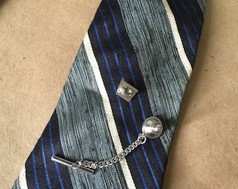 Vintage Tiny Tie Pin with Grey Jewel 1970s Tie Tack