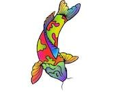 Rainbow Koi Temporary Tattoo