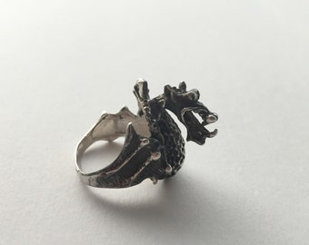 Sterling Silver Winged Dragon Ring - Goth Ring - Fantasy Dragon Jewelry