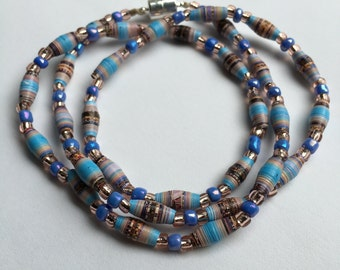 Seattle Washington necklace, upcycled, recycled calendar beads, handmade paper beads