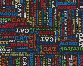 Cat sayings and words  on Black,Timeless Treasures