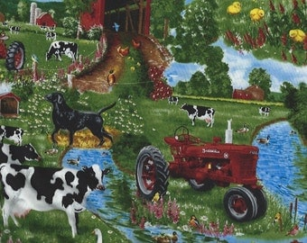 Farmall Tractors on Farm Pasture,with cows,ducks,chickens Sykel Fabrics