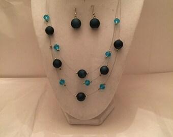 Blue Satin Floating Bead Jewelry Set/Multistrand Necklace and Earrings /Jewelry Set/Bead/Multistrand