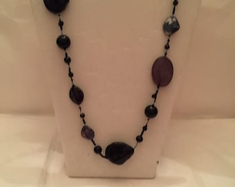 "36"" Assymetrical Black Necklace/Beaded Necklace/Long/Black/Beaded"