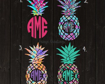 Lilly Pulitzer Inspired Pineapple Monogram Decal / Vinyl Decal / Bridesmaid Gift / Womens Gift / Car Decal / Yeti Decal / Laptop Decal