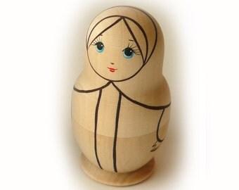 Blank Unpainted Matryoshka Nesting Russian Wooden Doll 1-piece