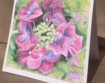 Summer Hydrangea Art Blank Greeting Card