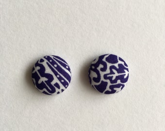 15mm Fabric Studs • Navy Forest • Surgical Steel • fabric stud earrings • button studs • button earrings
