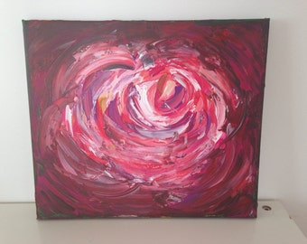 Abstract acrylic painting contemporary Rose