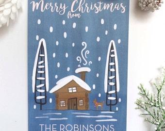 Personalized Christmas Post Card Set, Custom Christmas Card, Illustrated Christmas Post Card, Holiday Post Card Set, Christmas Stationary