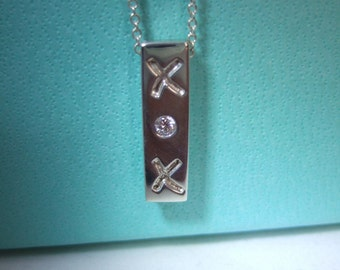 Tiffany & Co. Authentic Sterling Silver Diamond XOX Kiss and Hug Necklace - Worn Once!