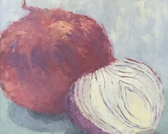 "Red Onion Study - 12""x12"""