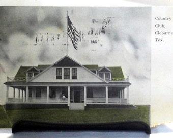 vintage postcard Cleburne TX country club 1909