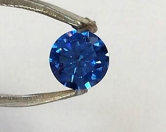 Loose CZ Gemstone/ Cubic Zirconia Blue/ Cubic Zirconia Gemstone/ CZ Blue/CZ Sapphire Blue/. 1.35 carat.  Blue. Round Brilliant Cut. Ref 109