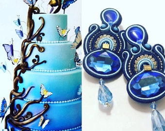 Earrings made entirely by hand with soutache technique