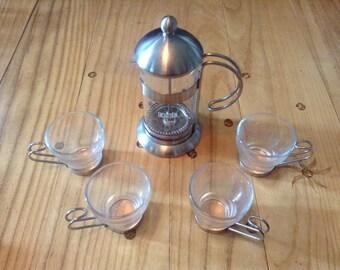 Retro La Cafetiere Espresso/Coffee Press with Four Espresso Cups