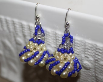 Blue & white beaded handmade earrings; beadweaving