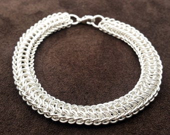 Sterling Silver Chainmail Dragonspine Bracelet