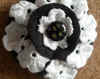 Ava - Black and White textile Brooch