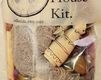 Fairy house making kit Woodland fairy house Waldorf toy building toy Natural play Merino wool DIY Kit