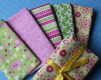 Flutterby Butterfly (one) 5 Piece Fat Quarter Bundle in Yellow, Pink & Green.
