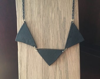 Black leather triangle necklace