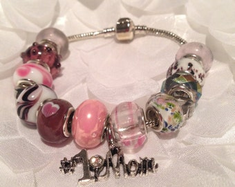 Mothers Day Pink  #1 Mom Bracelet - Variations