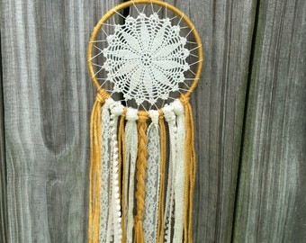Golden Mustard and Cream Doily Dreamcatcher