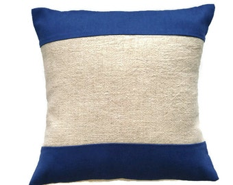 Navy and tan accent pillow cover/ cotten linen blend pieced cushion