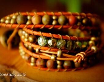 Chinese Rainbow Jasper - Three Wrap Bohemian Bracelet with additional Embellished & Knotted Wrap