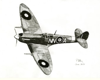 Pen & Ink Drawing, A4 - Spitfire