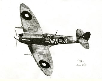Art Print - Pen & Ink Drawing, A4 - Spitfire