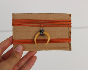 Orange & Tan Crescent Leather Wrap