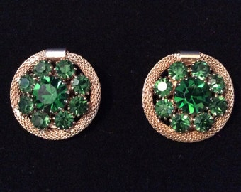 Signed WEISS vintage green crystal clip earrings