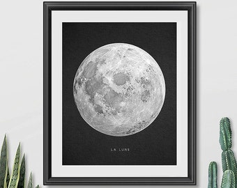 Moon Print, Printable Moon Art, La Lune Print, Outer Space, Astronomy Art, Printable Art, Dorm Wall Art, La Luna Poster, Downloadable Print