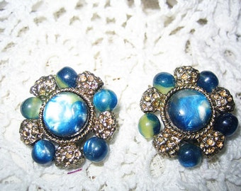 Vintage Blue Green Moonstone Clip on Earrings