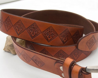 Leather Belt, Rustic leather belt, Celtic leather belt, Hand dyed and stamped,  Top quality vegetable tanned leather